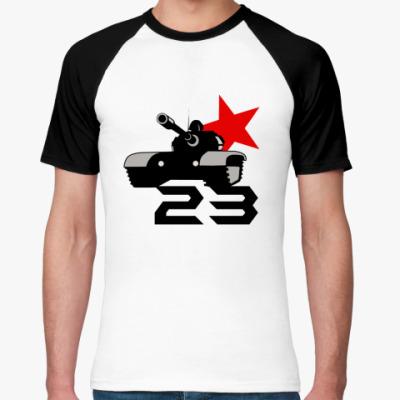Футболка реглан tank red 23  Муж ()