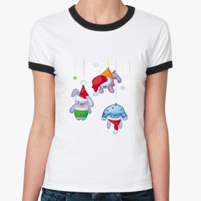 Женская футболка Ringer-T   Кролики