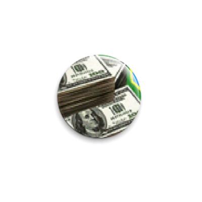 Значок 25мм Доллары