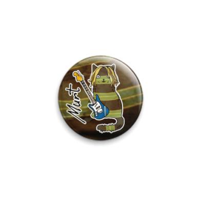 Значок 25мм Кот Курт Кобейн, его гитара и свитер
