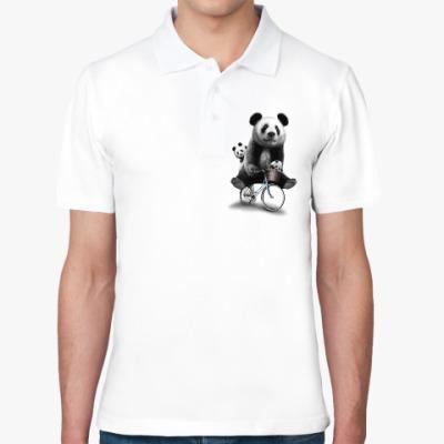 Рубашка поло Панды на велосипеде
