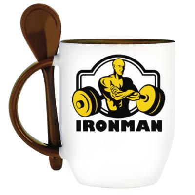 Кружка с ложкой Ironman