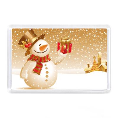 Магнит Снегвик с подарком