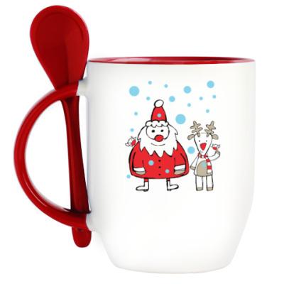Кружка с ложкой Дед Мороз и олень