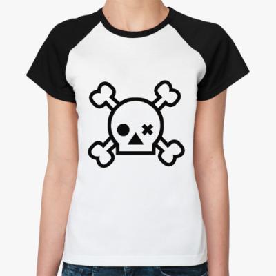 Женская футболка реглан Skull  Ж(бел/чёрн)