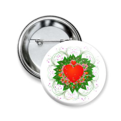 Значок 50мм Heart Flower