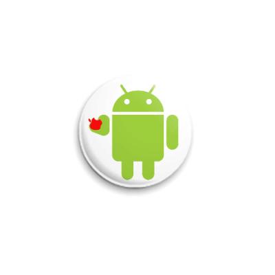 Значок 25мм Андроид с яблоком