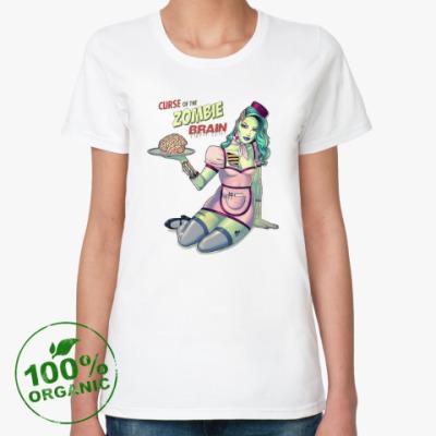 Женская футболка из органик-хлопка Зомби девушка, Zombie Girl, Ужасы, Скелет, Секси