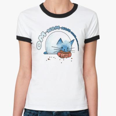 Женская футболка Ringer-T Ом-ном-ном-ном кот