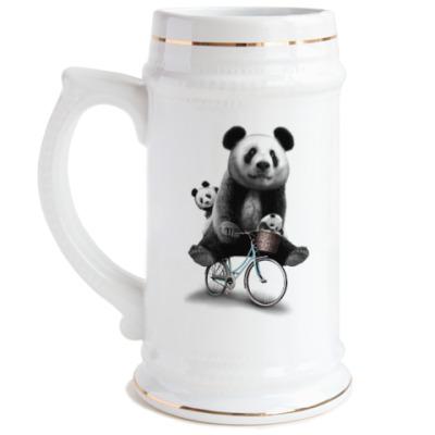 Пивная кружка Панды на велосипеде