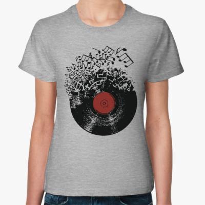 Женская футболка Виниловая пластинка