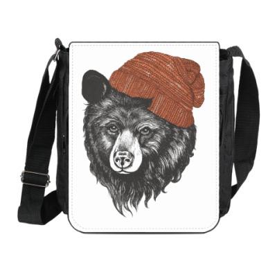 Сумка на плечо (мини-планшет) Медведь в шапке