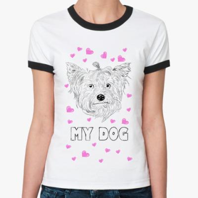 Женская футболка Ringer-T Love my dog