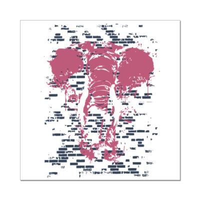 Наклейка (стикер) Слон в стене