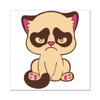 Наклейка (стикер) Недовольный котенок