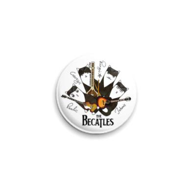 Значок 25мм Котики с гитарами, похожие на Beatles