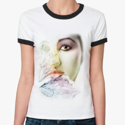 Женская футболка Ringer-T Девушка-бабочка