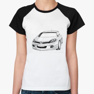 Женская футболка реглан Автомобиль Opel