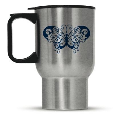 Кружка-термос Синяя бабочка.