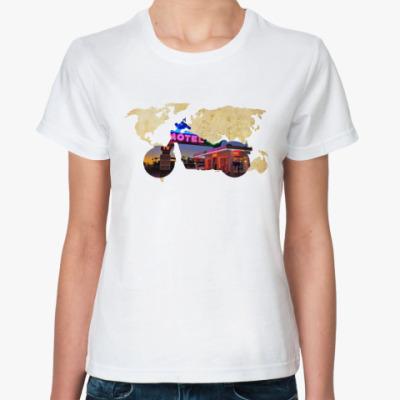 Классическая футболка Пейзаж мотоцикла