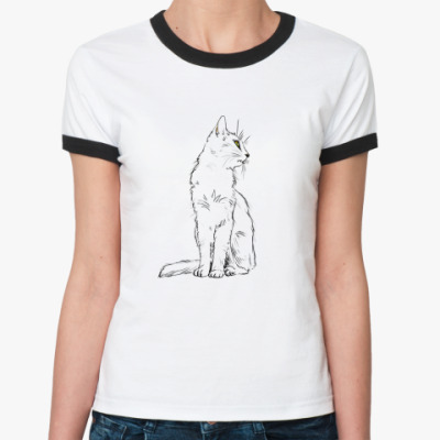 Женская футболка Ringer-T  'Белый кот'