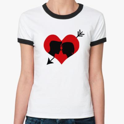 Женская футболка Ringer-T Сердце хочет любви