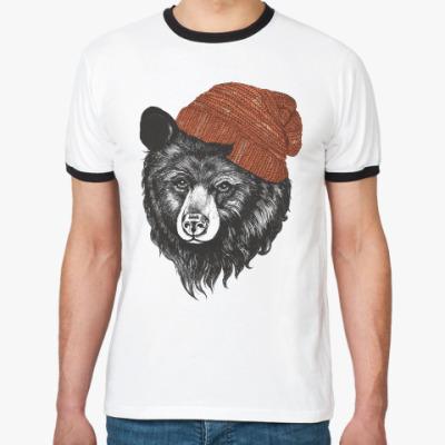 Футболка Ringer-T Медведь в шапке