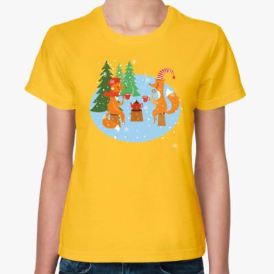 Женская футболка Зимнее чаепитие