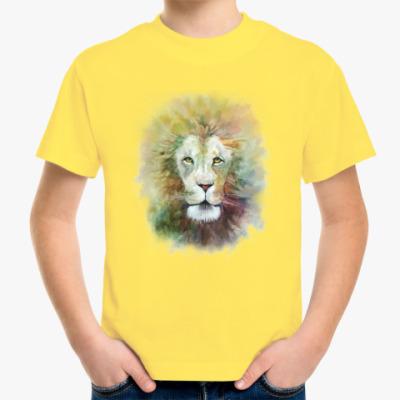 Детская футболка Лев, акварель