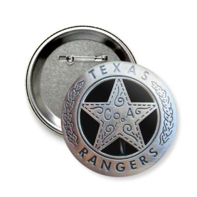 Значок 58мм  Texas Raingers
