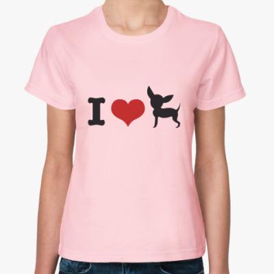 Женская футболка Люблю собак