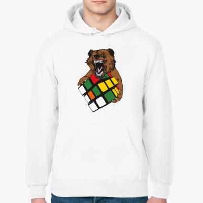 Толстовка худи Медведь и кубик Рубика