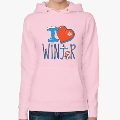 Женская толстовка худи I love Winter: признайтесь зиме в любви!