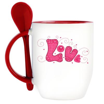 Кружка с ложкой Pink Love