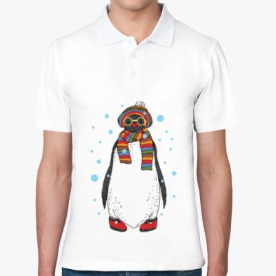 Рубашка поло Новогодний пингвин в шапке