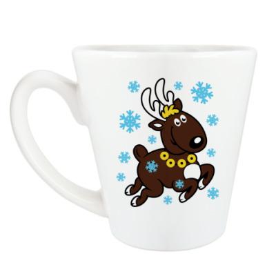 Чашка Латте Олень с бубенцами