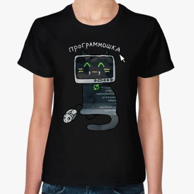 Женская футболка Черная кошка программист