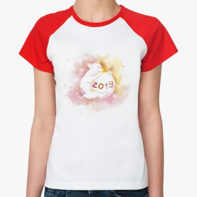 Женская футболка реглан Новогодняя свинка 2019