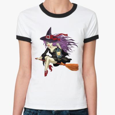 Женская футболка Ringer-T Ведьмочка