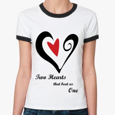 Женская футболка Ringer-T Two hearts