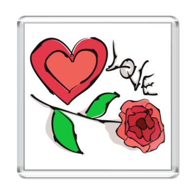 Магнит Роза-любовь