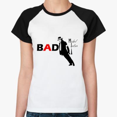Женская футболка реглан BAD  Ж (бел/чёрн)