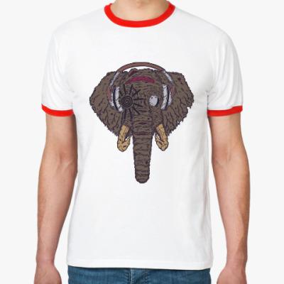 Футболка Ringer-T Слон в наушниках