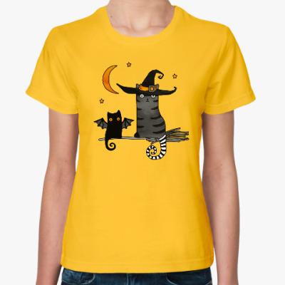 Женская футболка Черная кошка и магия