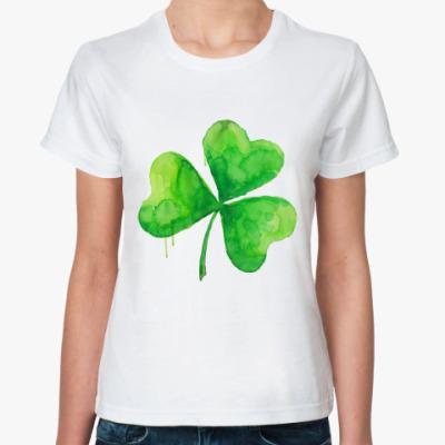 Классическая футболка Акварель 'Клевер'