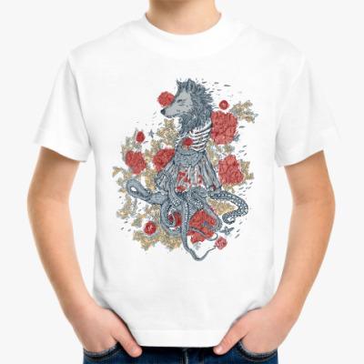 Детская футболка Волк-девушка-осьминог