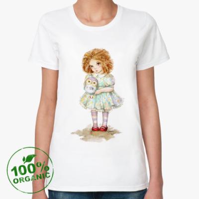 Женская футболка из органик-хлопка Девочка с совой
