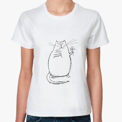 Классическая футболка Кот новогодний с огоньками