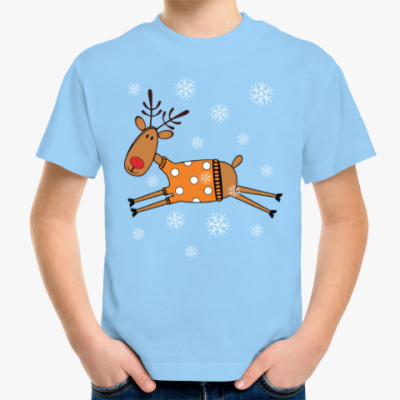 Детская футболка Новогодний олень в свитере