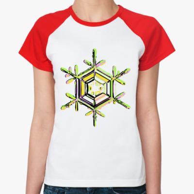 Женская футболка реглан Снежинка